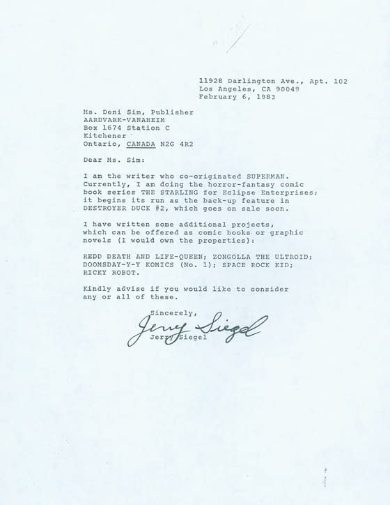 When Jerry Siegel Wrote To Aardvark-Vanaheim Looking For A Publisher For Redd Death And Life-Queen, Zongolla The Ultroid, Doomsday-Y-Y Komics, Space Rock Kid And Ricky Robot