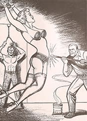 According to Craig Yoe in his book Secret Identity: The Fetish Art of Superman's Co-Creator Joe Shuster, Superman co-creator Joe Shuster anonymously illustrated likenesses of his Superman characters being beaten and tortured in the fetish comic book series