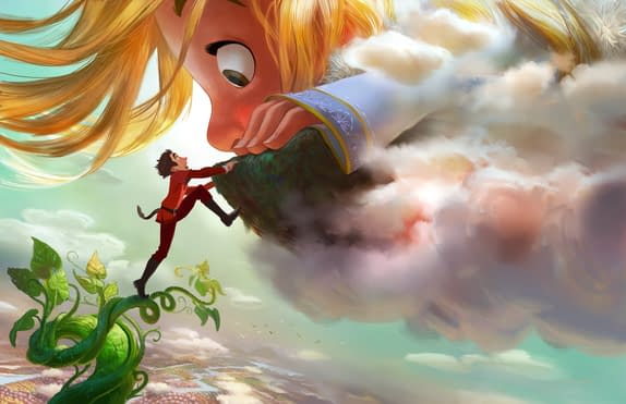 """GIGANTIC - Adventure-seeker Jack discovers a world of giants hidden within the clouds, hatching a grand plan with a 60-foot-tall, 11-year-old girl. Directed by Nathan Greno (""""Tangled"""") and produced by Dorothy McKim (""""Get A Horse!""""), """"Gigantic"""" hits U.S. theaters in 2018. ©2015 Disney. All Rights Reserved."""
