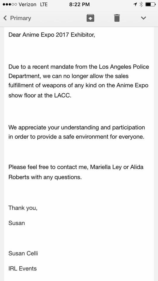LAPD Forces Anime Expo To Ban All Cosplay Weapon Sales On Show Floor