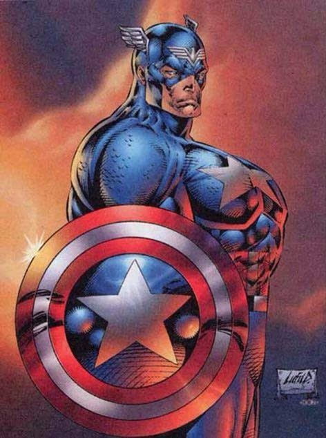 The infamous Cap Boobs by Rob Liefeld