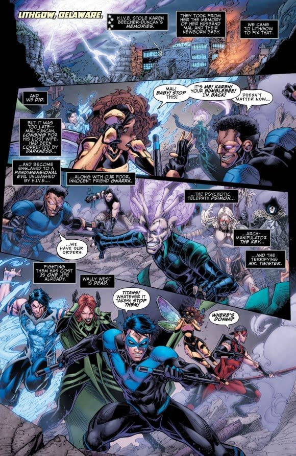 Titans #18 art by Brett Booth, Norm Rapmund, and Andrew Dalhouse