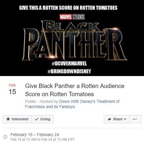 Facebook Bans Group Responsible For 'Black Panther' Rotten Tomatoes Plan