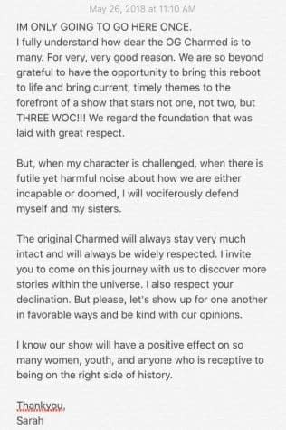 "'Charmed' Star Sarah Jeffery Defends Series; Emphasizes Diversity, ""Positive Effect"""