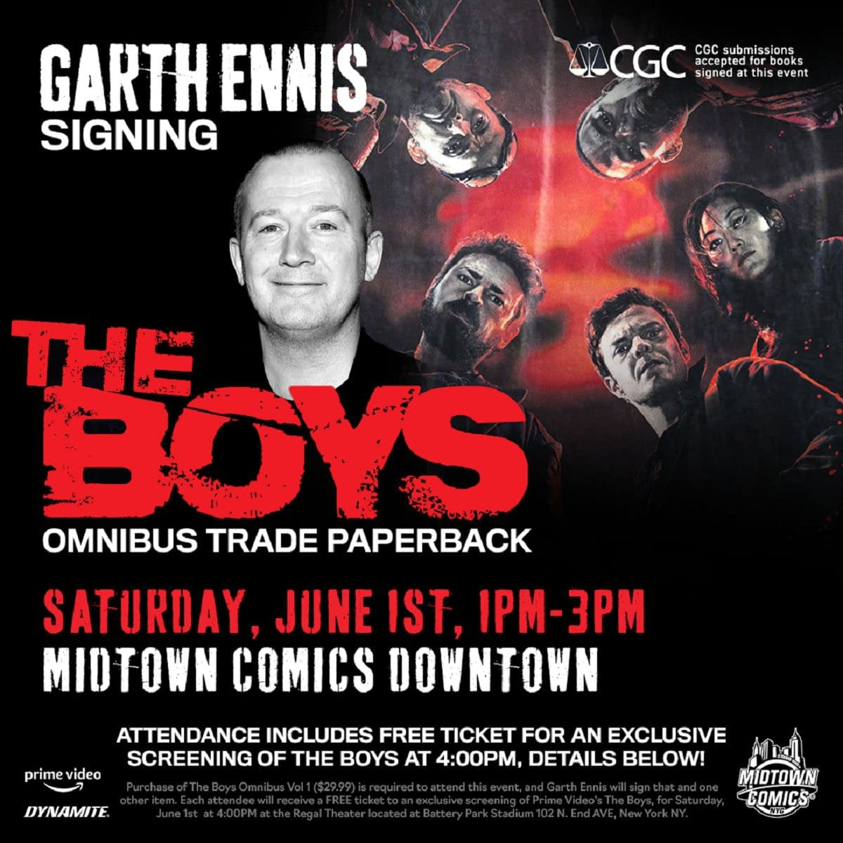 'The Boys': In NYC on June 1st? Midtown Comics Offers Garth Ennis Signing, Free Screening