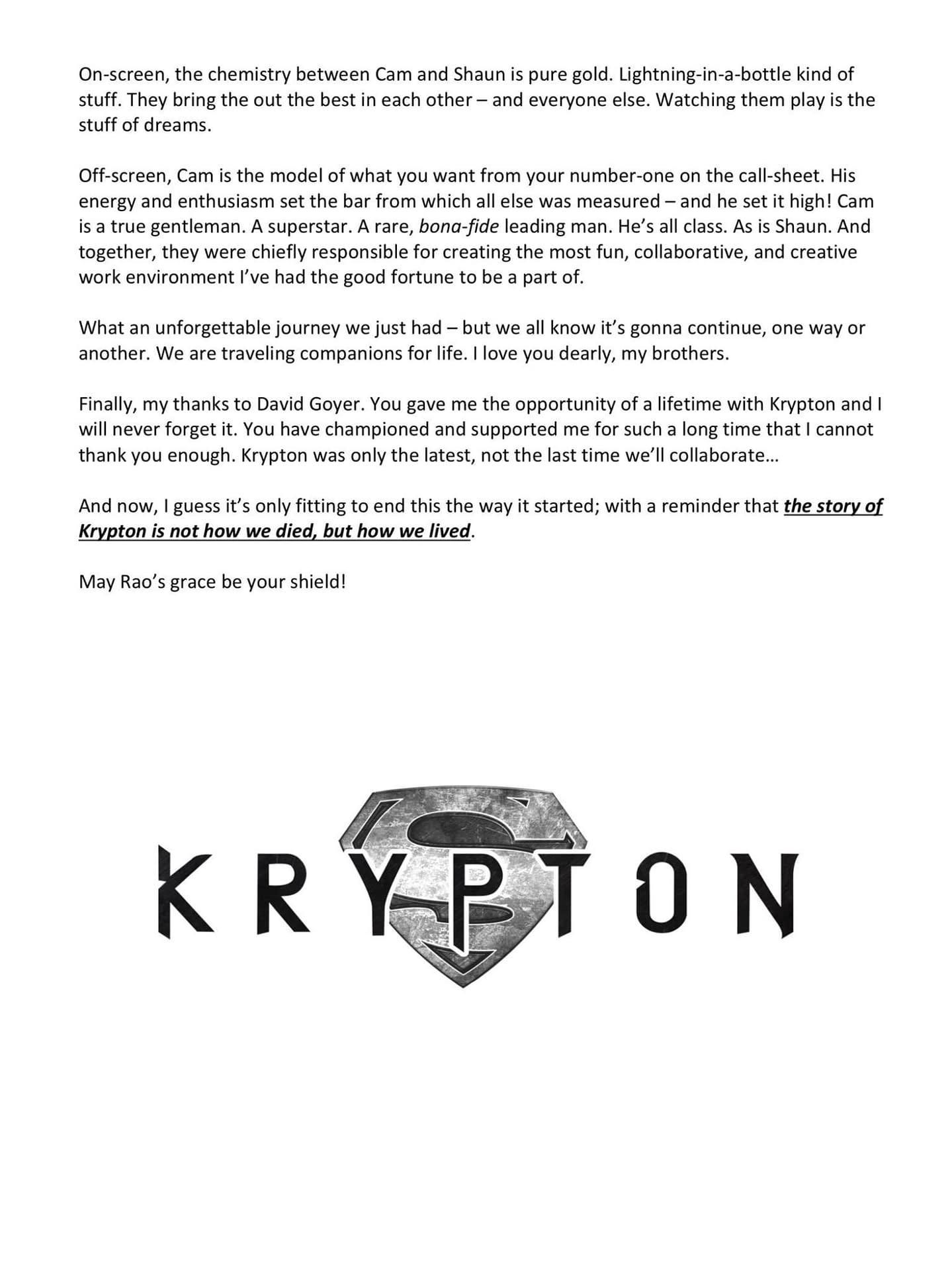 """""""Krypton"""" EP/Showrunner Cam Welsh Addresses Cancellation; Offers Season 3 Opener Tease"""