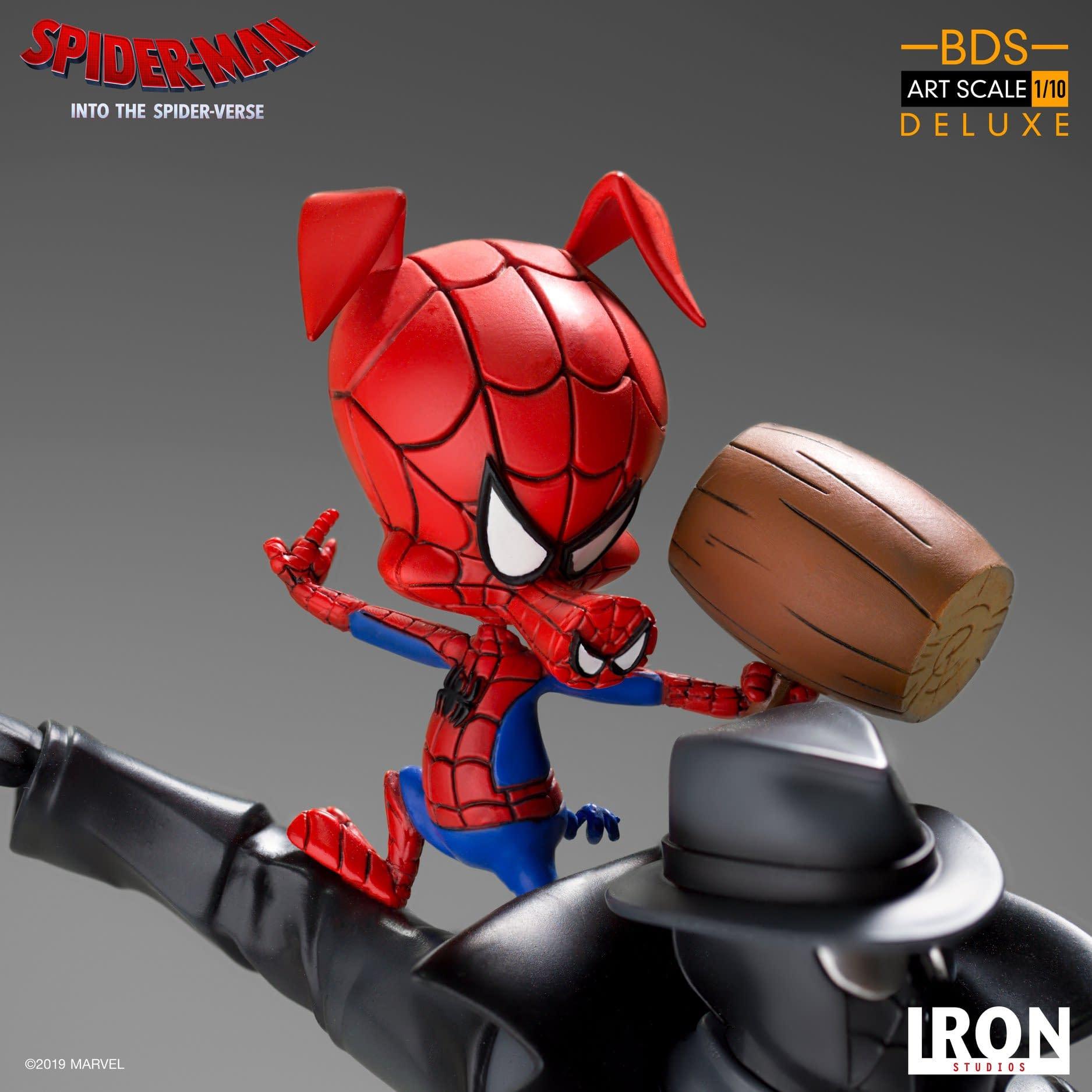 Noir Spider-Man Teams Up With Spider-Ham In Iron Studios Statue