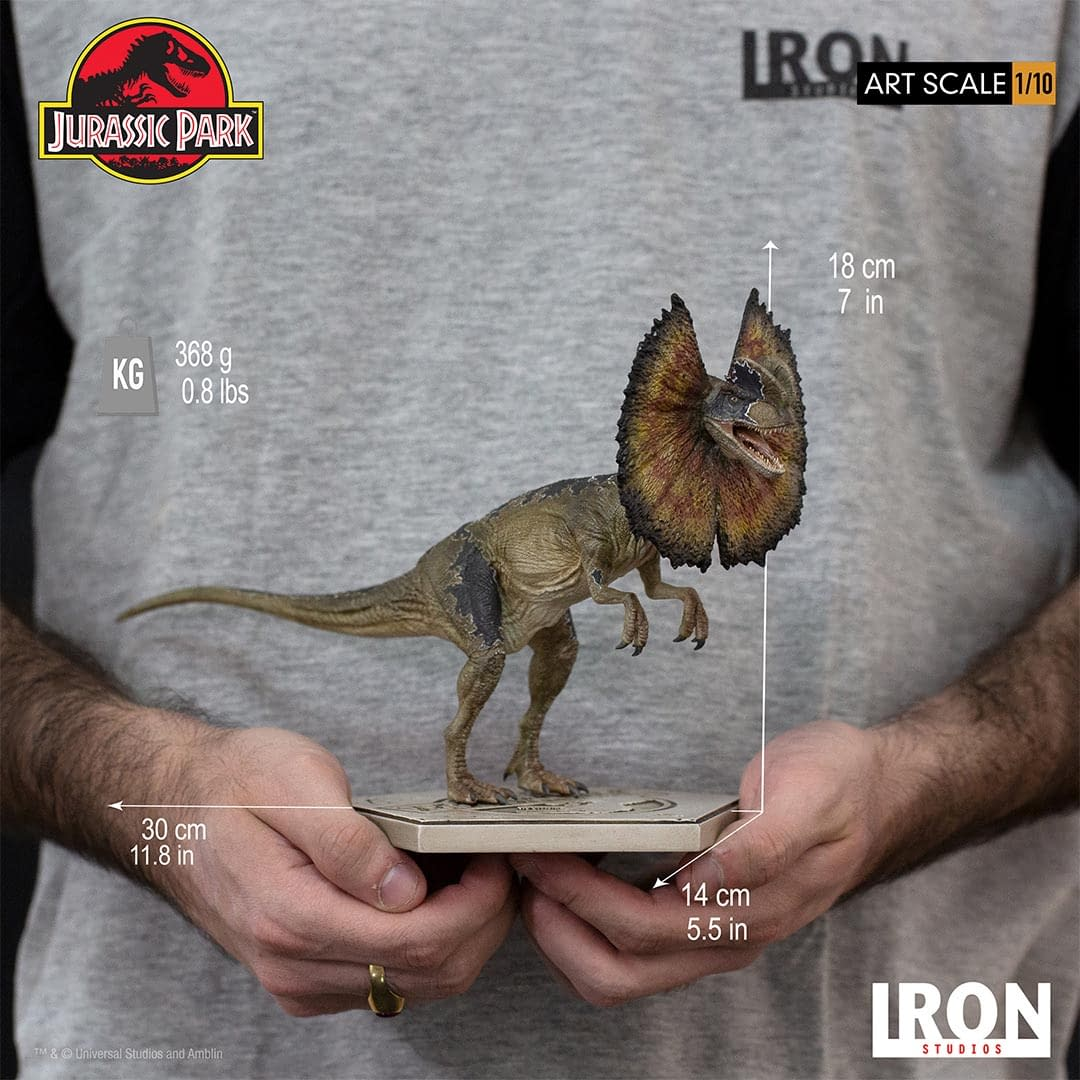 Jurassic Park Dilophosaurus has Escaped in New Iron Studios Statue
