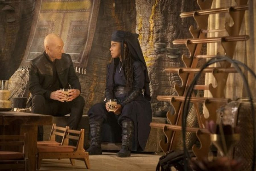 Patrick Stewart and Amirah Vann in Star Trek: Picard