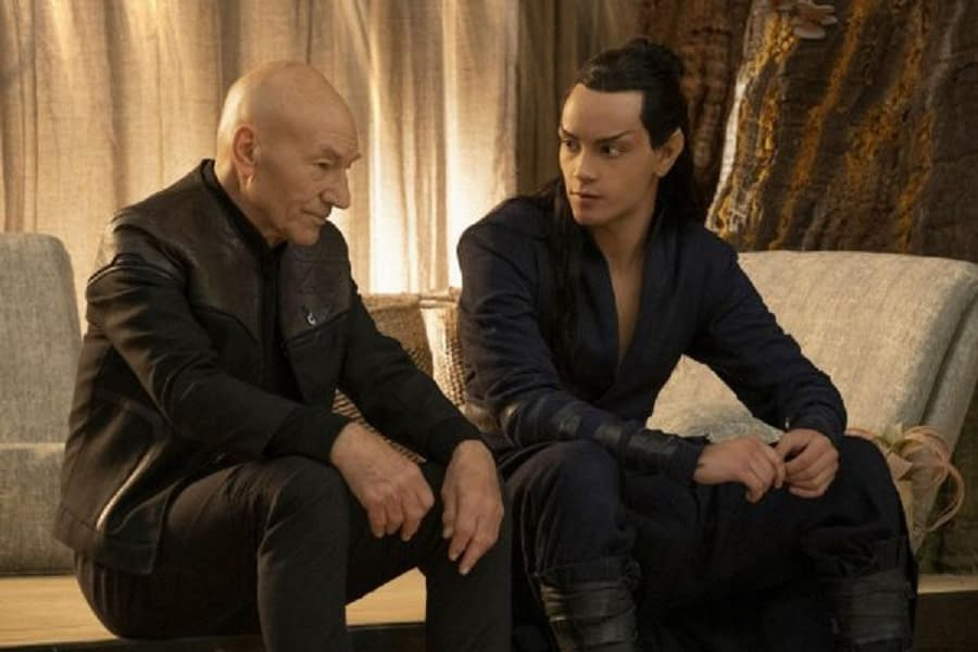 Patrick Stewart and Evan Evagoria in Star Trek: Picard