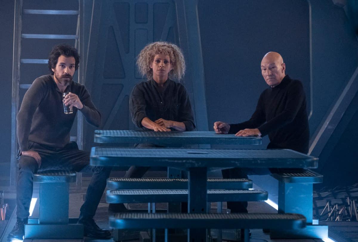 Santiago Cabrera as Crist--bal Rios; Michelle Hurd as Raffi; Sir Patrick Stewart as Jean-Luc Picard of the CBS All Access series STAR TREK: PICARD.