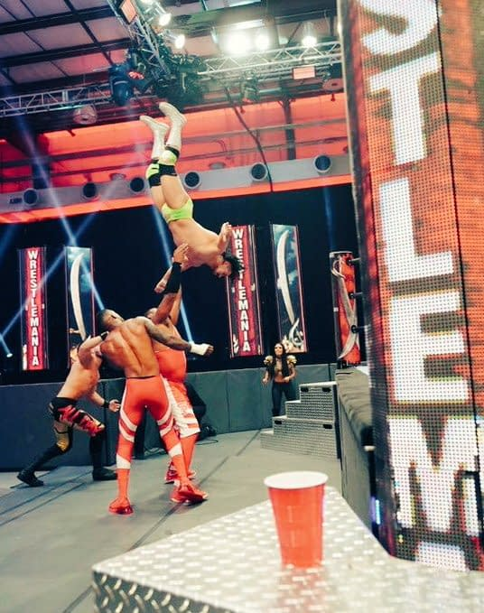 The Street Profits and Angel Garza and Austin Theory in action at WrestleMania 36, photo courtesy of WWE.