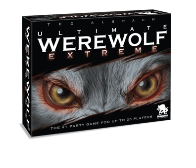 the front cover of the box for Bezier Games' social deduction game, Ultimate Werewolf Extreme.