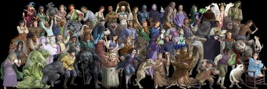 A group shot of villagers and other characters from Bezier Games' Ultimate Werewolf Extreme. What a cast!
