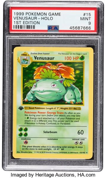 The front face of the grade 9 Mint-graded First Edition Base Set Venusaur on auction now at Heritage Auctions. From the Pokémon Trading Card Game.