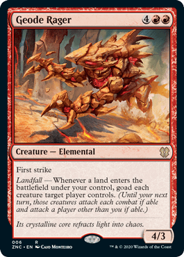 Geode Rager, a new card from the Land's Wrath Commander deck.