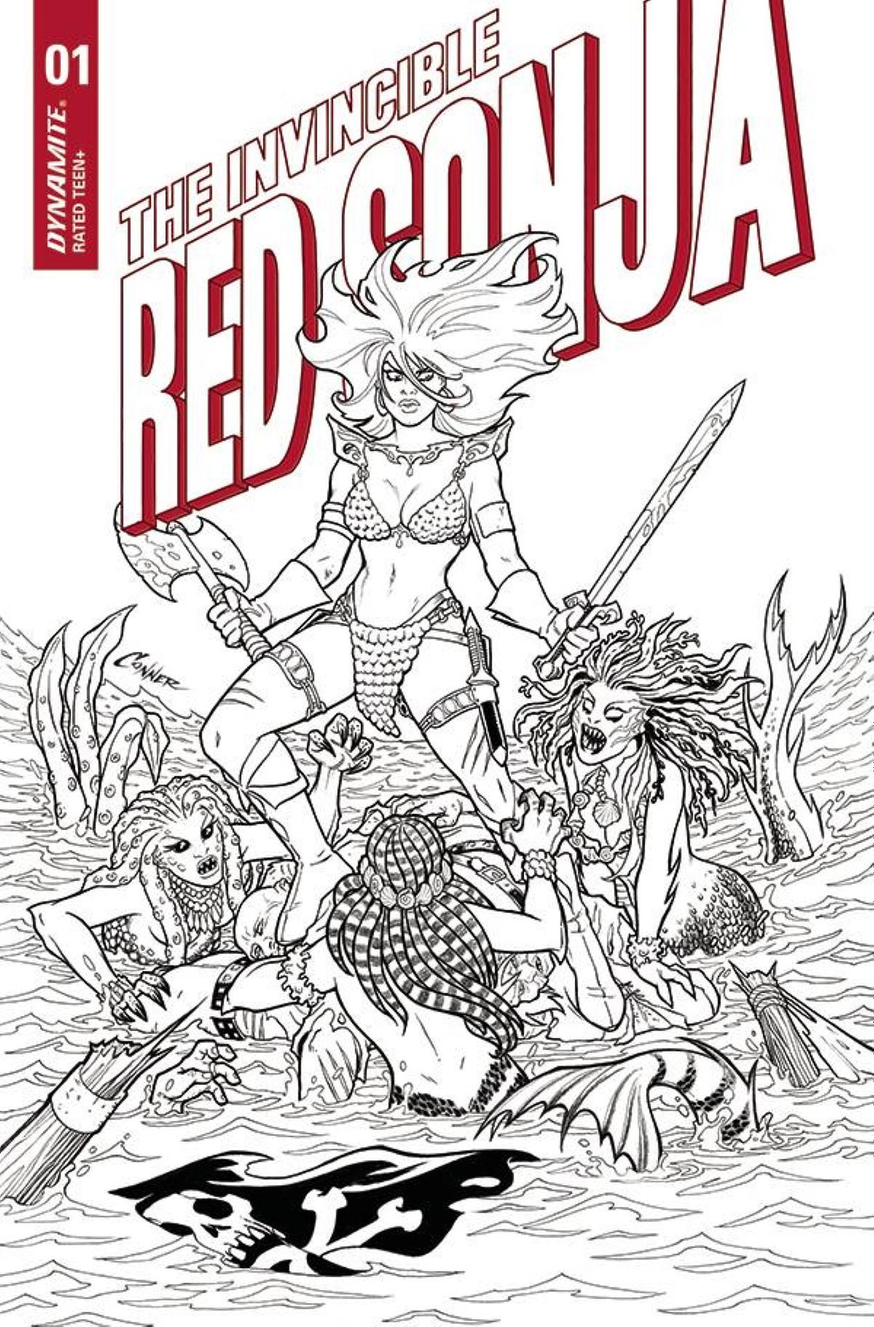 INVINCIBLE RED SONJA #1 15 COPY CONNER LINE ART INCV
