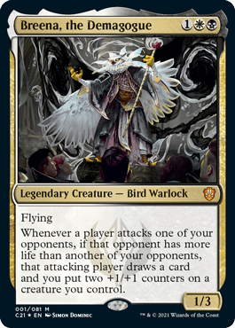 """Breena, the Demagogue, the professor from the """"Silverquill Statement"""" Commander 2021 deck. Art by Simon Dominic."""