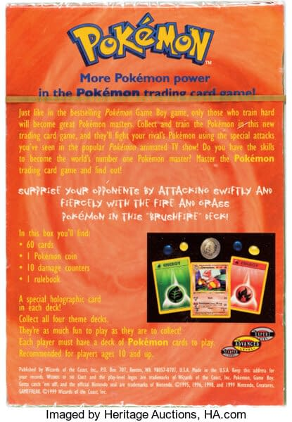 """The rear face of the box for the """"Brushfire"""" preconstructed deck from the Pokémon TCG's Base Set."""