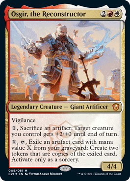 """Osgir, the Reconstructor, the professor from the """"Lorehold Legacies"""" Commander 2021 deck. Art by Victor Adame Minguez."""