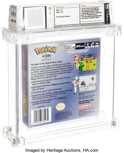 The rear face of the remarkably well-preserved graded copy of Pokémon Crystal up for auction at Heritage Auctions right now!