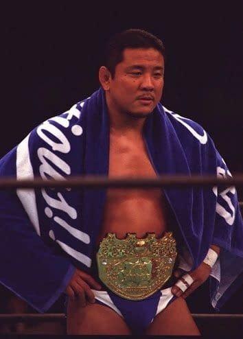 "The ""Crown"" Belt, seen here around the waist of Yuji Nagata. Courtesy of NJPW."