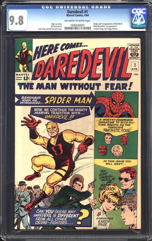 Daredevil #1 cover art by Jack Kirby, inked by Bill Everett, Marvel 1964.