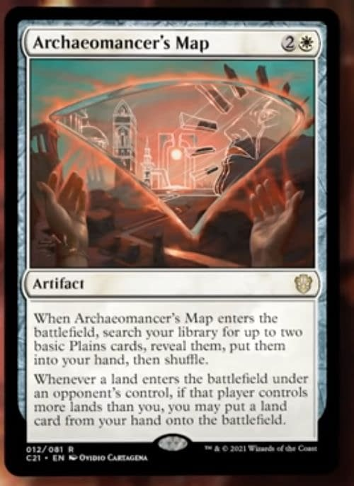 Archaeomancer's Map, a card from the Lorehold Legacies preconstructed Magic: The Gathering deck from Commander 2021. Image taken from The Command Zone.