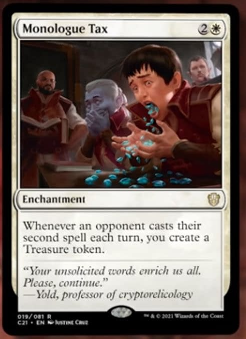 Monologue Tax, a card from the Lorehold Legacies preconstructed Magic: The Gathering deck from Commander 2021. Image taken from The Command Zone.