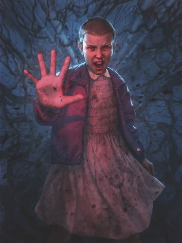 Another as-of-yet untitled piece of Magic: The Gathering art from the Secret Lair crossover product with Stranger Things. It depicts the character Eleven, played by Millie Bobby Brown, and is illustrated by Pauline Voss.