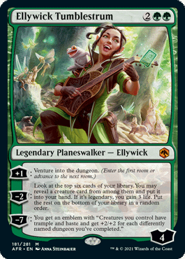 Ellywick Tumblestrum, a new planeswalker card for Adventures in the Forgotten Realms, the upcoming Dungeons & Dragons-themed expansion set for Magic: The Gathering.