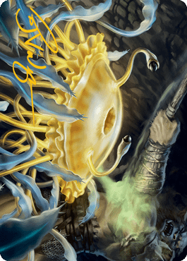 The art card for Flumph, a new creature for Adventures in the Forgotten Realms, the upcoming Dungeons & Dragons-themed expansion set for Magic: The Gathering.