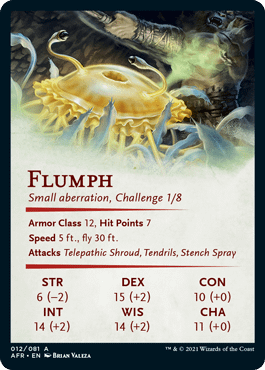 The stat block for Flumph, a new creature for Adventures in the Forgotten Realms, the upcoming Dungeons & Dragons-themed expansion set for Magic: The Gathering. Found on the back face of the art card (shown above).