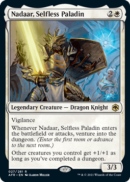 Nadaar, Selfless Paladin, a new legendary creature card for Adventures in the Forgotten Realms, the upcoming Dungeons & Dragons-themed expansion set for Magic: The Gathering.