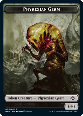 """A Phyrexian Germ creature token from Modern Horizons 2, the next upcoming supplemental set for Magic: The Gathering. Part of the """"Grand Phyrexian Creature Type Update"""", these tokens were previously just Germ creatures."""