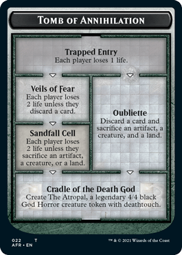 """The """"dungeon"""" token card for venturing into the Tomb of Annihilation, part of Adventures in the Forgotten Realms, the upcoming set for Magic: The Gathering."""