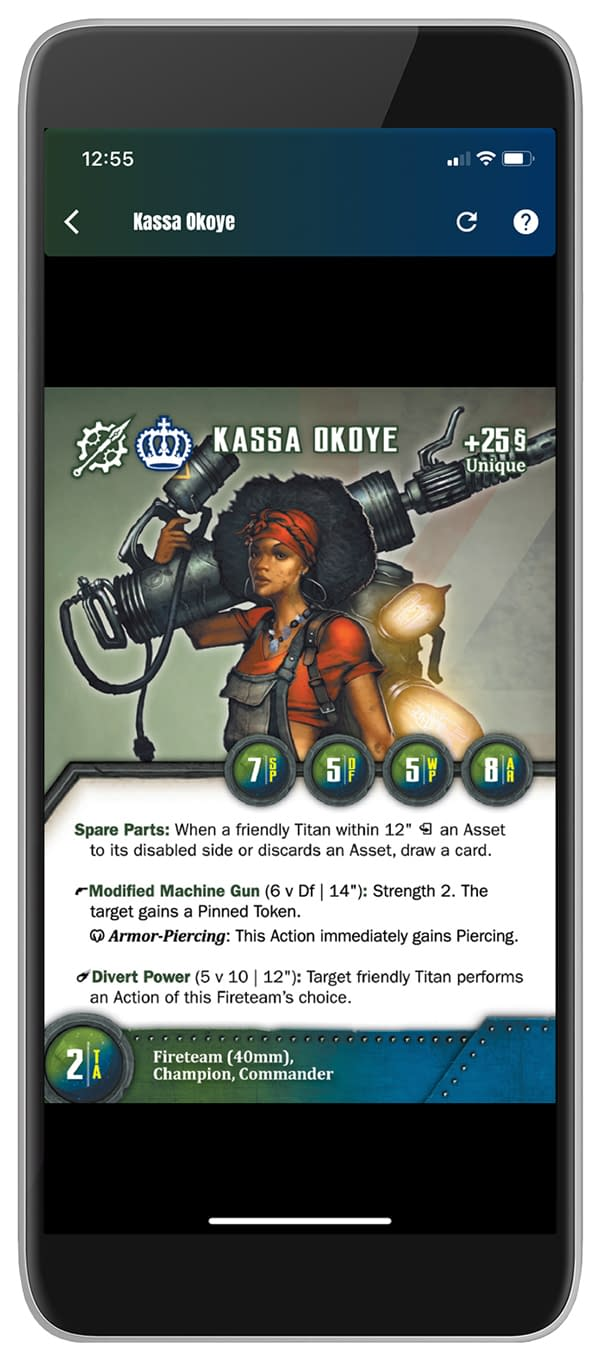 """Another mockup from the Android version of the Company Builder app for Wyrd Games' wargame, The Other Side. Coming to iOS """"very soon""""."""