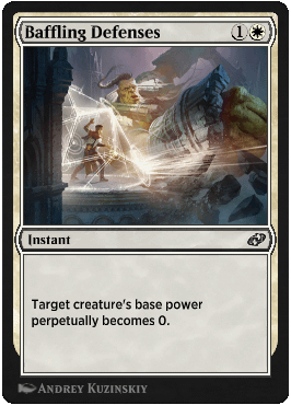 Baffling Defenses, one of the new, digital-only Magic: The Gathering cards from JumpStart: Historic Horizons.