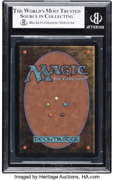 The back face of this rare, graded Beta Black Lotus from Magic: The Gathering. Currently available at auction on Heritage Auctions' website.