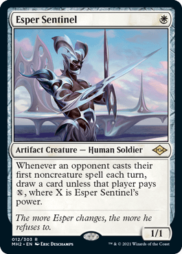 Esper Sentinel, a Magic: The Gathering card from Modern Horizons II that's being reprinted in the digital-only JumpStart: Historic Horizons set.
