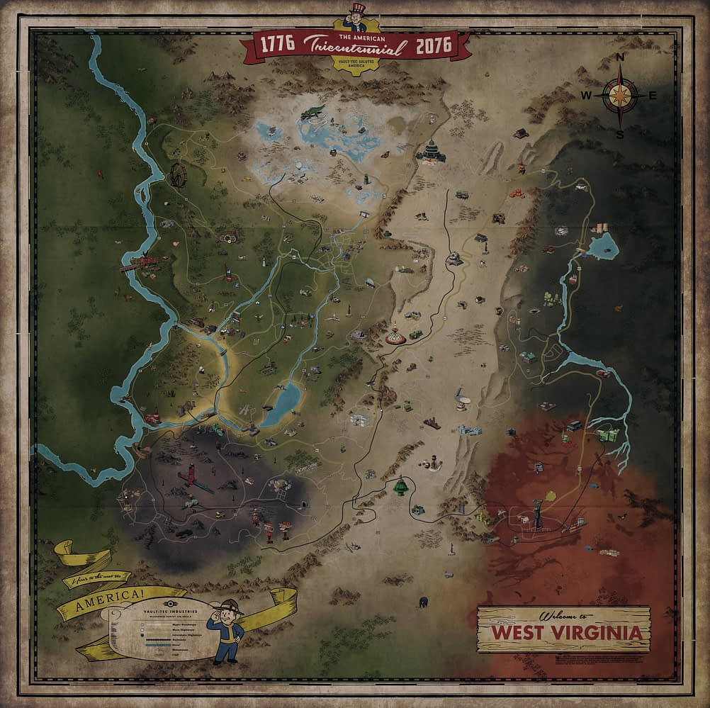 Bethesda Softworks Reveal the Full Map for Fallout 76 on school's out, ops out, flag out, letter out, print out, drawing out,
