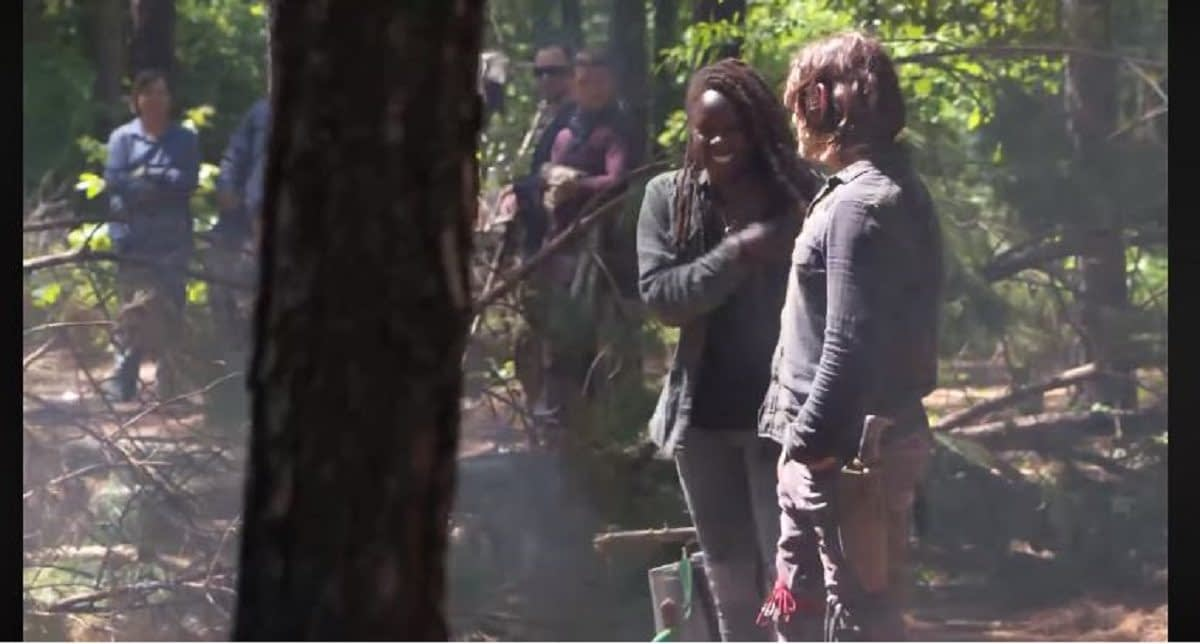 """The Walking Dead"" Season 10: Danai Gurira, Norman Reedus Share Laugh; Walker Flop & More [BTS VIDEO]"