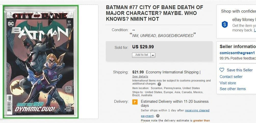 Batman #77 Sells For Up to $30 on eBay Before Comic Stores Have Even Opened