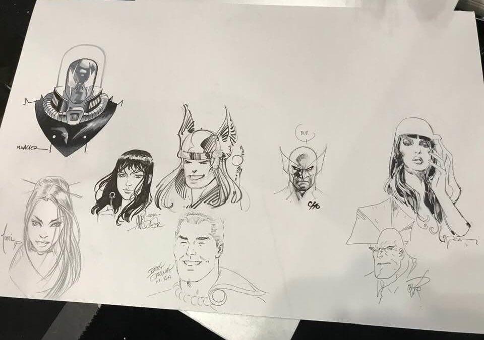 Scott Dunbier's Sketch Jam Piece For San Diego 2020 With Bill Sienkiewicz, Frank Cho, Matt Wagner, Jerry Ordway, Walter Simonson, Billy Tucci and Erik Larsen... So Far