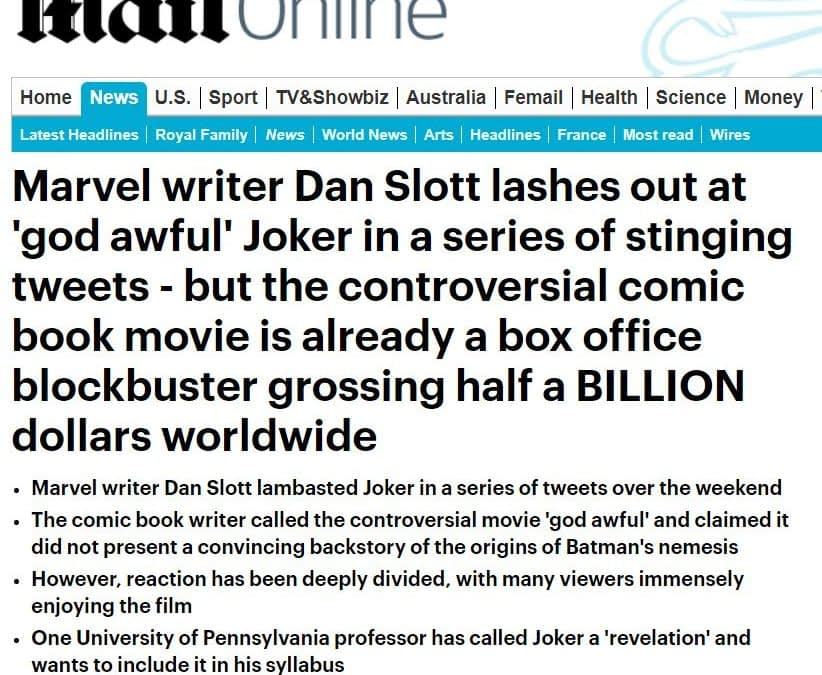 Daily Mail Runs a Story About Dan Slott's Tweets About the Joker Movie