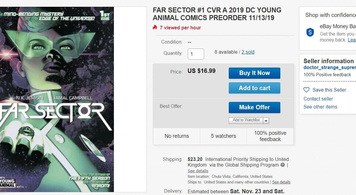 DC Comics' Far Sector #1 Selling for $17 on eBay - is This 5G?