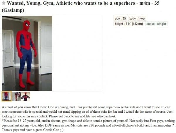 18 Personals Listings From Craigslist Ahead Of San Diego Comic Con