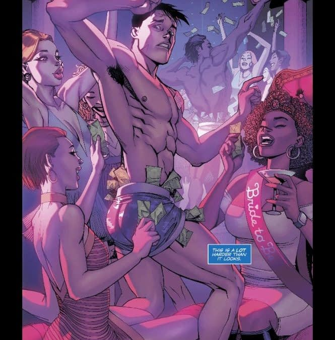 The Saga of Nightwing's Ass Continues with Dick the Stripper in Nightwing #38