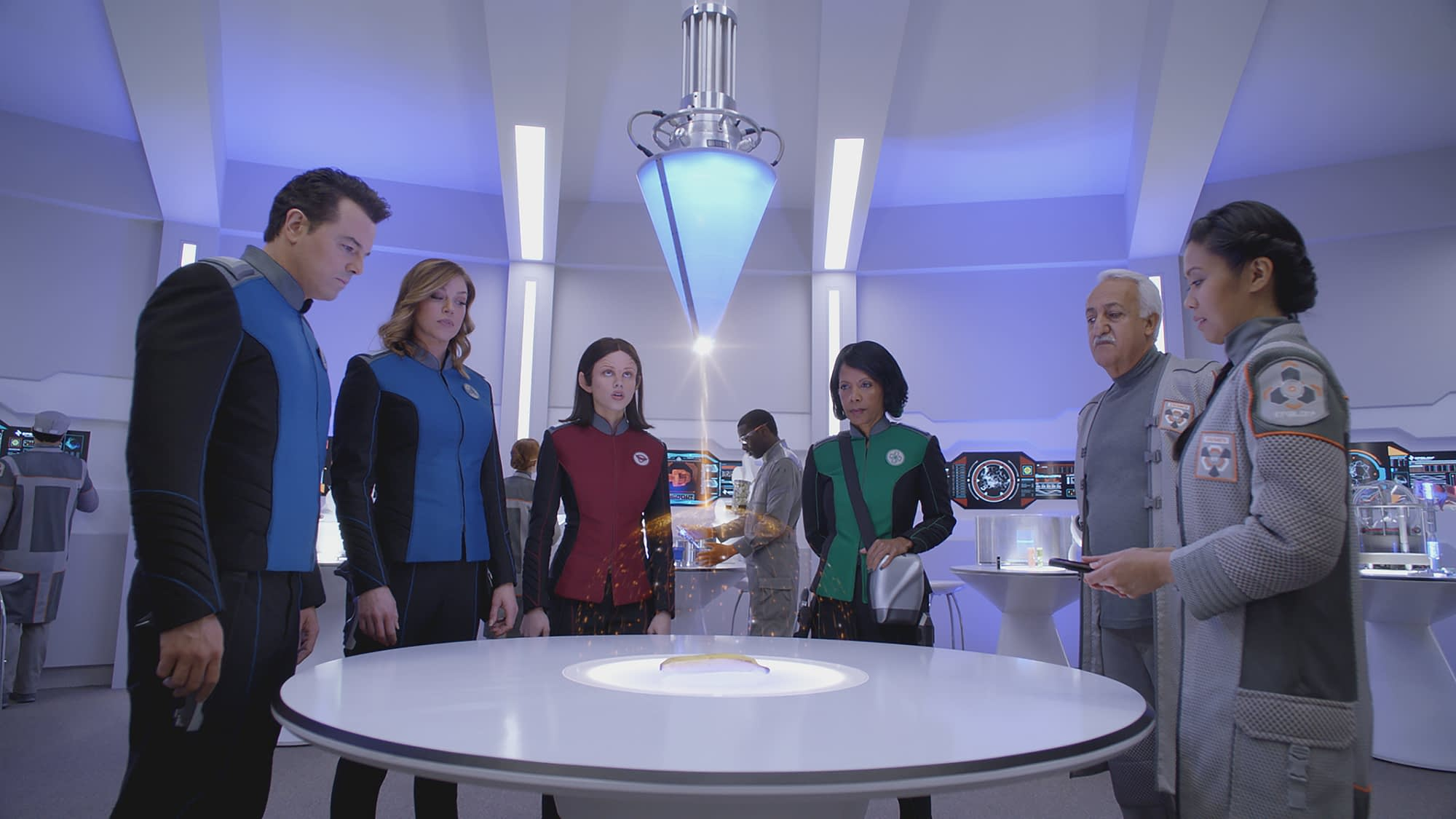THE ORVILLE: L-R: Seth MacFarlane, Adrianne Palicki, Halston Sage, Penny Johnson Jerald, guest star Brian George and guest star Christine Corpuz in THE ORVILLE premiering this fall on FOX. ©2017 Fox Broadcasting Co. Cr: FOX