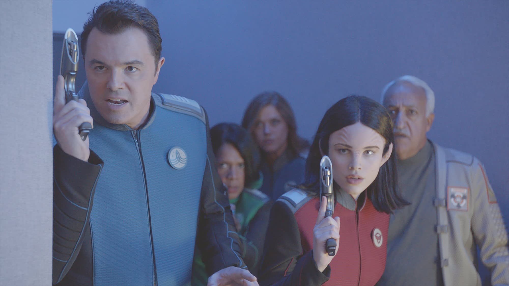 THE ORVILLE: L-R: Seth MacFarlane, Penny Johnson Jerald, Adrianne Palicki, Halston Sage and guest star Brian George in THE ORVILLE premiering this fall on FOX. ©2017 Fox Broadcasting Co. Cr: FOX